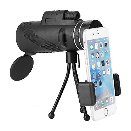 VBESTLIFE Telescopio monocular 40x60 8X Zoom manual monocular con visión nocturna Telescopio universal objetivo gran angular para Smartphone