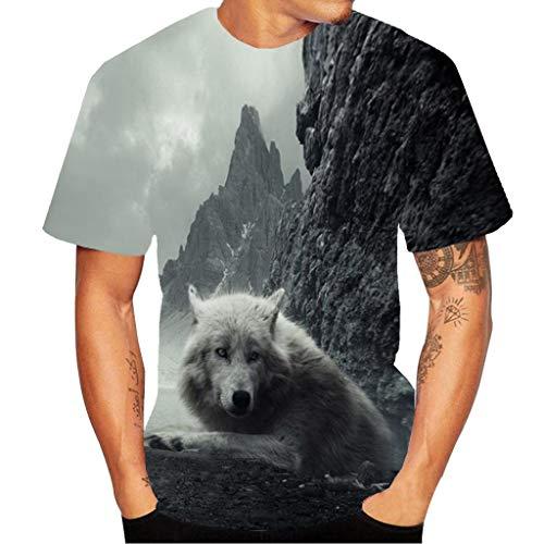 CICIYONER 3D Shirts Herren Bunt Tier Druck Rundhals Casual Strassenmode Sport Spaß Motiv Tops T-Shirt M L XL XXL XXXL