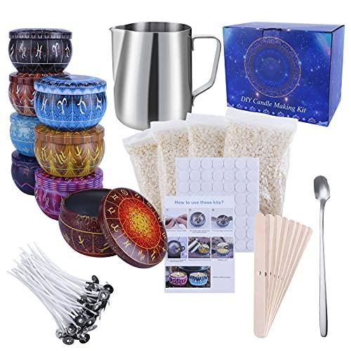 Kit de Fabrication de Bougies de Cire Bricolage, DIY Bougies, Inclus Flocons de Cire d'abeille, boîtes de Bougies,Pot de Fabrication, Supports, Autocollants de mèche,mèches de Bougie