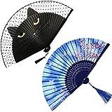 WOHENI 2 Pieces Handheld Fans, Folding Fan for Women Men, Silk Folding Fans with Bamboo Frames for Dancing Cosplay Wedding Party Props Decoration (Cartoon Cat+Sakura)