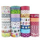 Honmax 30 Rollos Cinta Adhesiva Decorativa, Washi Tape Set para DIY, Tarjetas, Albumes de Recortes, Calendario,Decoración hogareña y Envoltura de Regalos.