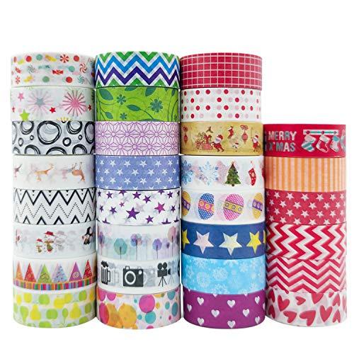 Honmax, set di 30 rotoli di nastro adesivo Washi Masking Tape decorativo per fai da te, biglietti, scrapbooking, calendario, decorazione della casa e confezione regalo.