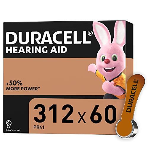 Duracell 312 - Batterie per Apparecchi Acustici con Easy Tab, Marrone, 60 Batterie