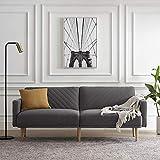 Mopio Chloe Futon Sofa Bed, Convertible Sleeper Sofa with Tapered Wood Legs, 77.5' W, Small Splitback Sofa for Living Room, Dark Gray Fabric
