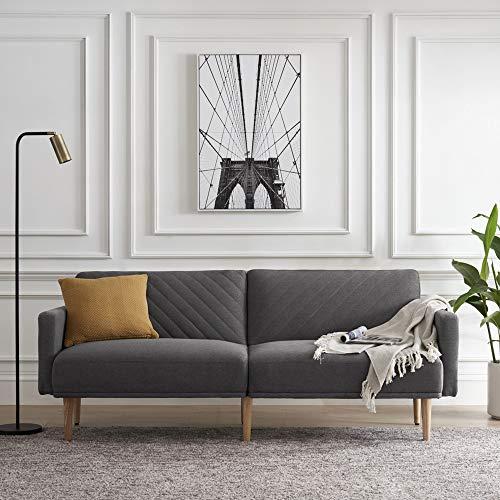 Dark Gray Velvet Sofa Sleeper Bed,JULYFOX 77.5 inch Mid Century Modern Couch Sofa Futon Set Reclining Back Heavy Duty for Living Room Bedroom Office Guest Room
