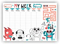 COI Writing Pad Activity Planner/Designer My Week Dog Lovers Notepad with Activity and to Do List for Home Office Work
