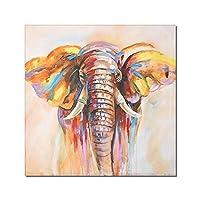 """モダンな色の象とゼブラの壁アートキャンバス絵画ポスターとプリント壁の写真リビングルームの家の装飾23.6"""" x 23.6""""(60x60cm)フレームレス"""