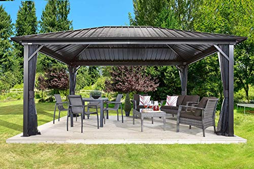 Sojag 12' x 16' Genova Hardtop Gazebo 4-Season Outdoor Shelter with Mosquito Net, Dark Brown