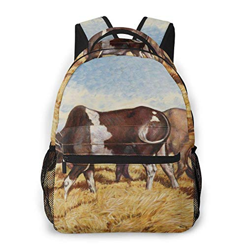 Lawenp Fashion Unisex Backpack African Woman Cow Drawing Bookbag Lightweight Laptop Bag for School Travel Outdoor Camping