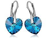 Crystals & Stones * BERMUDA Blue * * Cuore * 14mm–925Argento Orecchini da donna, orecchini fatti a mano con cristalli di Swarovski Elements–Meraviglioso orecchini con scatola regalo