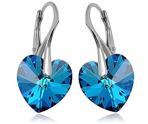 Crystals & Stones *Bermuda Blue* *HERZ* 14 mm - 925 SILBER Ohrringe Damen Ohrhänger mit Kristallen von Swarovski Elements - Wunderbare Ohrringe mit Geschenkbox