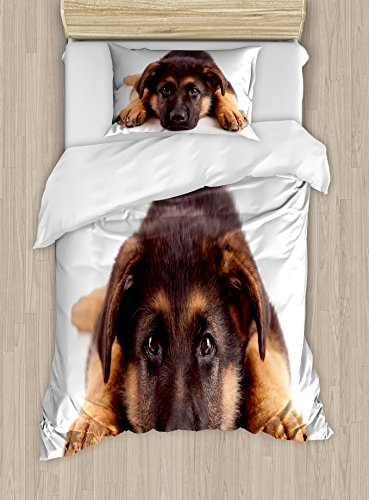 Pastor alemán de edredón por lunarable, fotografía, cachorro de perro pedigrí canina con inocentes expresión, decorativo juego de cama con fundas de almohada, marrón y marrón oscuro