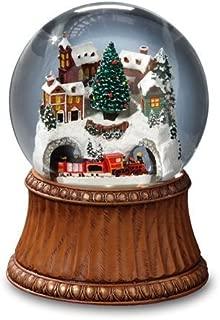 The San Francisco Music Box Company Rotating Train and Mountain Village Snow Globe