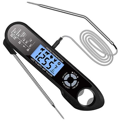 lijun Termómetro Digital Impermeable para Carne, sonda Doble, Herramienta de medición de Alimentos de Lectura instantánea