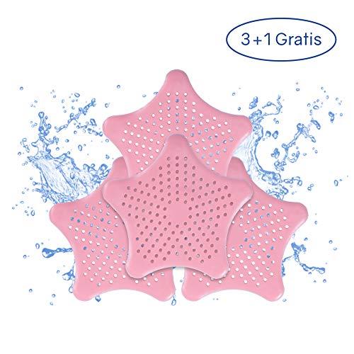 PaWa Abflusssieb – 3 + 1 Gratis – Duschstern aus Silikon – Haarsieb für Bad und Küche (Pink)