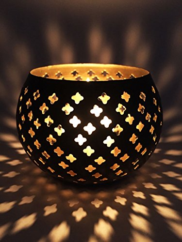 Orientalisches Windlicht Laterne orientalisch Atmaya 10cm Groß Schwarz | Orientalische Vintage Teelichthalter Goldfarben innen und schwarz außen | Marokkanische Windlichter aus Metall Dekoration
