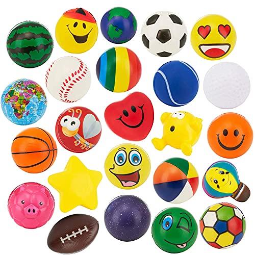 24 Stress Balls - Bulk Pack of 2.5' Stress Balls - Treasure Box Classroom Prizes, Party Favors, Or...