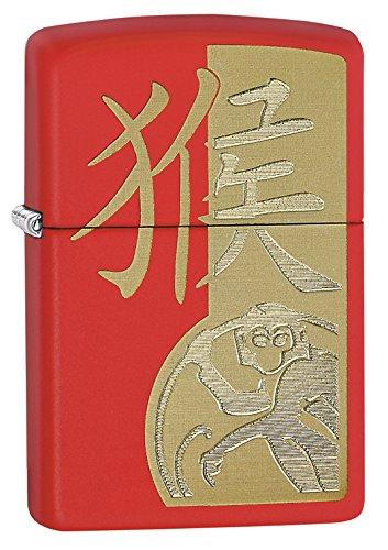 Zippo Anno della Scimmia Accendino Antivento, Colore: Rosso Opaco