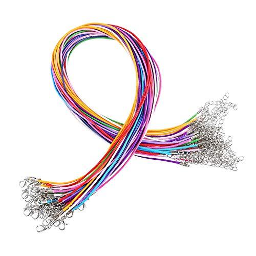 CAILI Halskette Kette,Schmuckband Kette,Leder Schnur Wachs Halsketten mit Karabinerverschluss,13 Farben Lederband für Halskette Armband Schmuckherstellung(2mm,Mischfarbe,50 Stück)