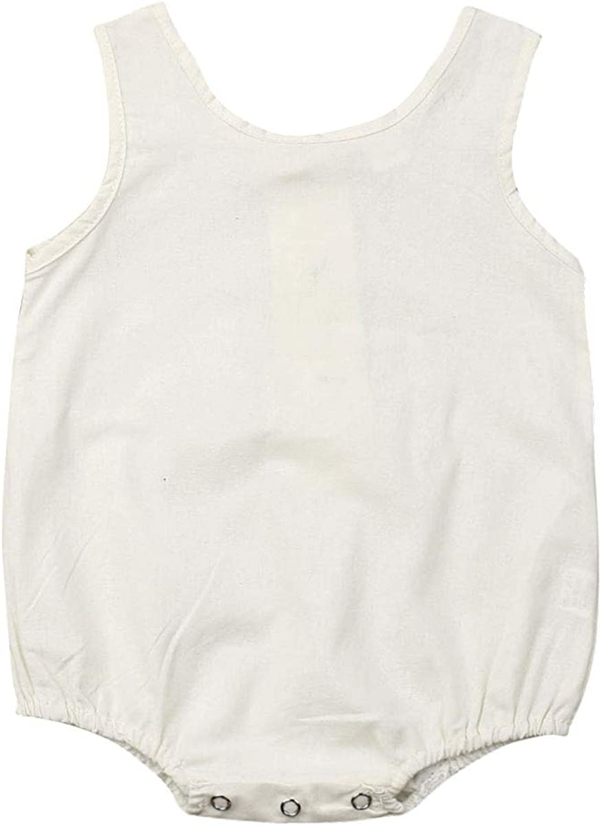 Baby Kids Boys Girls Infant Sleeveless Romper Jumpsuit Bodysuit Cotton Clothes