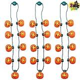 JOYIN 3 Pcs Halloween LED Necklace Pumpkin Shaped Light...