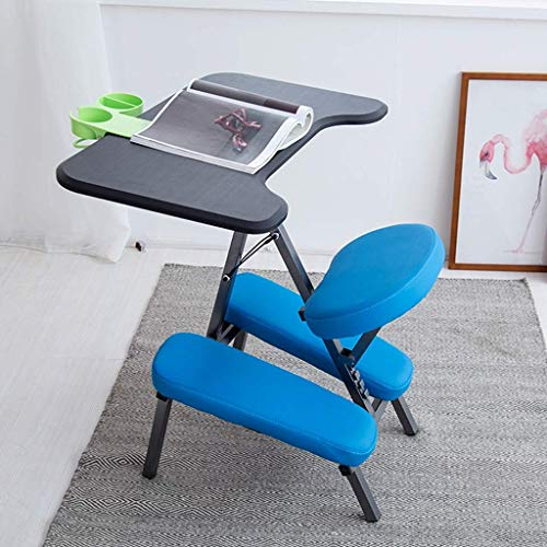 YAMMY Kneeling Chairs Ergonomic Chair Office Chair Learning Chair Detachable Table Improve Sitting Posture (Color: Blue)