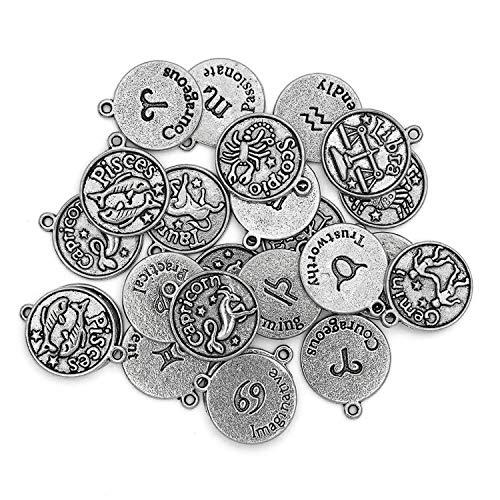 Cousin DIY Zodiac Charm Set for Jewelry Making, Set of 24, 24 Count, Silver 24 Count