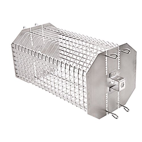 onlyfire Universal Octagonal Tumble & Flat Basket Rotisserie Grill Spit Rod Basket Fits for Any Grill