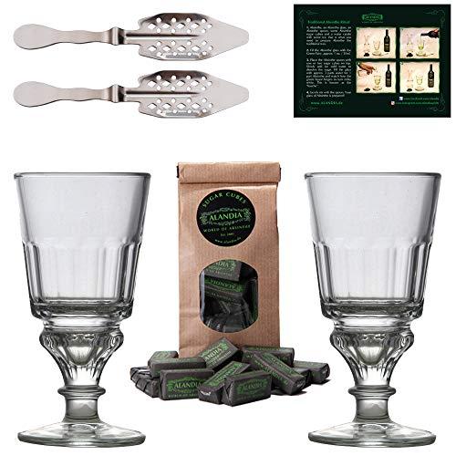 Juego para Absenta | Completo con 2x Vasos | 2x Cucharas | 1x Azúcar