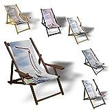 Liegestuhl zum selbst gestalten - Sonnenliege Balkon Terrasse Relaxliege aus Holz oder Aluminium bedruckt, Variante:mit Armlehne. Natur