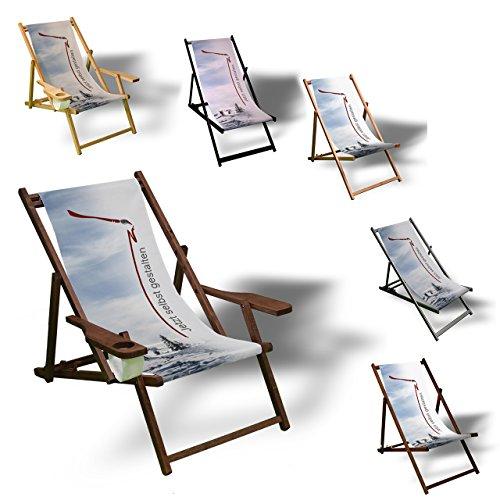 Printalio - Selbstgestalten - Eigenes Motiv - Liegestuhl Bedruckt Balkon Garten Sonnenliege Relax Holz Terrasse | mit Armlehne, Dunkelbraun