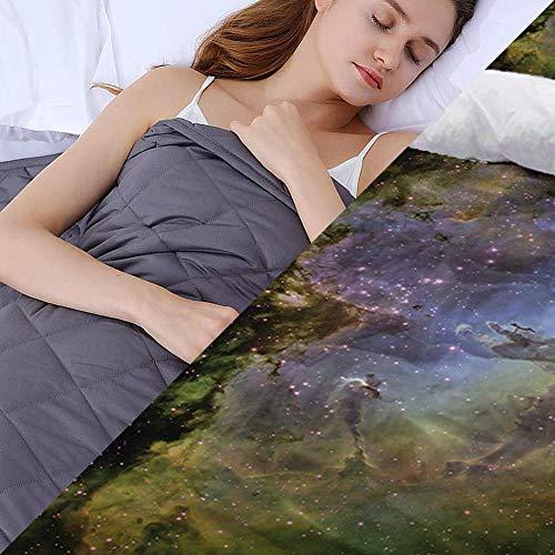 Anxiety Blanket mit Bettbezug,2.3kg Wohlfühldecke Schwer für das Körpergewicht 18-32kg für Schlaf und Stressabbau, Angstdecke, Sensorische Beruhigungsdecke für Guten Schlaf,91x122cm,Gelb
