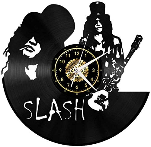 HHCUIJ Reloj de Pared de Vinilo Retro 3D Reloj de Pared de Vinilo Creativo Slash Music Mute Clock Decoration Gift-no LED with_Led 12 Inch