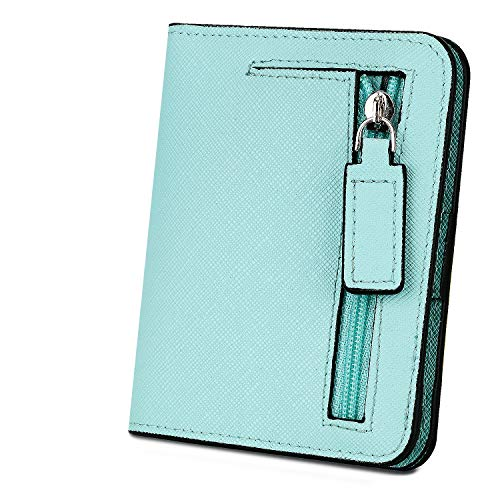 Geldbörse Damen YALUXE RFID Blockieren Dünne Brieftasche Damen Mini 7 Kartensteckplätze ID Fenster Äußere Reißverschluss Münzfach Himmelblaues Kreuzmuster