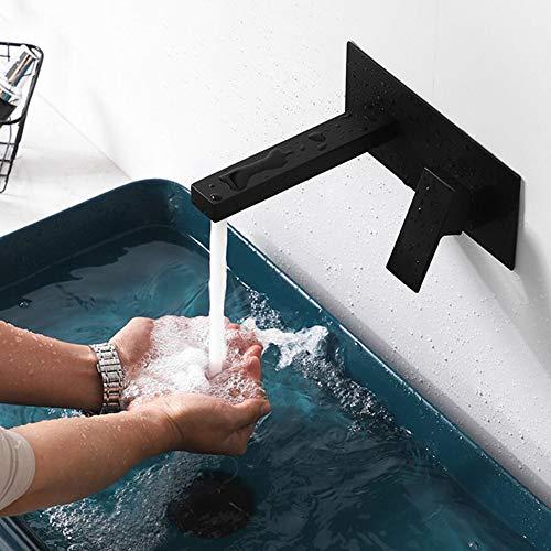 Waschtischarmatur Wasserfall Wandmontage Wasserhahn Wand Unterputz Einzigen Handgriff 2-Loch Badarmatur Heiß Und Kalt,für Badezimmer Waschtisch Oder Badewanne Unterputz (black)