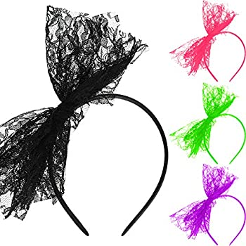 80 s Lace Headband Costume Accessories for 80s Theme Party No Headache Neon Lace Bow Headband Set of 4  4 Colors B Style B
