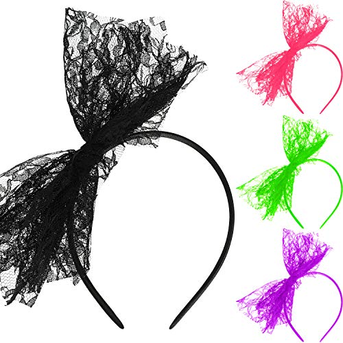 80's Lace Headband Costume Accessories for 80s Theme Party, No Headache Neon Lace Bow Headband, Set of 4 (4 Colors B, Style B)