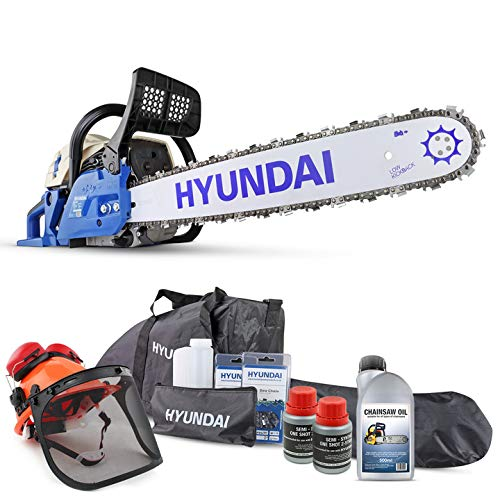 Hyundai 62cc Petrol Chainsaw, All-In-One Chainsaw Kit, 20 Inch Bar, Includes 2 Chains, Chain Saw...