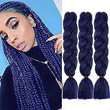 MYCHANSON Jumbo Braiding Hair Long Kanekalon Synthetic High Temperature Fiber African Twist Braids Hair Extensions (4pcs & Dark Blue)