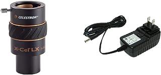 Celestron 93428 X-Cel LX 1.25-Inch 3X Barlow Lens (Black) & 18778 AC Adapter (Black)