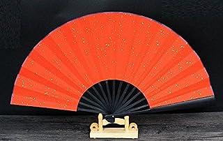 宣纸折扇 10寸 黒竹両面紅砂金 未完成品 扇子立て+収納袋セット  創作製作に