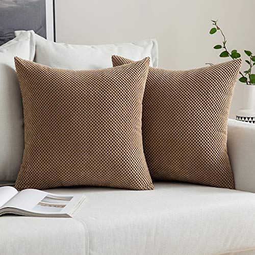 MIULEE Corduroy Granule Throw Pillow Covers Soft Pellets Solid Decorative Square Cushion Case for Sofa Bedroom Brown 18'x18'2 Pieces