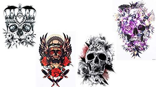 Totenkopf - temporäre Festival Tattoos 4 Sheets Skull 4