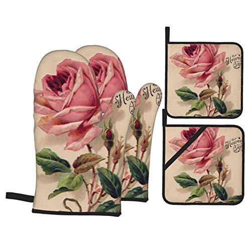 2 Stück Ofenhandschuhe und 2 Stück Topflappen, Ofen-Rosa, Vintage-Rose, rutschfeste Handschuhe und Hot Pads zum Kochen, Backen, hitzebeständig, Handschutz