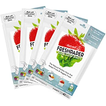 THE FRESHGLOW Co FRESHPAPER Food Saver Sheets for Produce, 32 Reusable Sheets (4 Packs), Keeps Fruits & Vegetables Fresh for 2-4x Longer