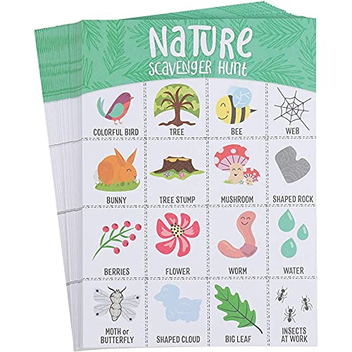 Outdoor Scavenger Hunt for Kids, Nature Themed Camping Bingo Game Cards (50 Pack)