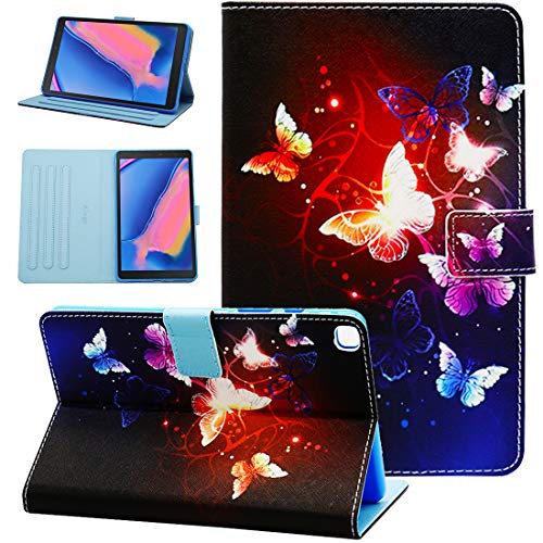 Galaxy Tab A 8.0 2019 Case, Alugs Full-Body Multi-Angle Viewing Protective PU Leather Folio Cover for Samsung Galaxy Tab A 8.0 2019 Without S Pen Model (SM-T290 Wi-Fi, SM-T295 LTE), Butterfly