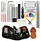 TIMESETL 26 Pcs Guitar Repairing Tool Kit with Wire Plier, String Organizer, Fingerboard Protector, Hex Wrenches, Files, String Action Ruler, Spanner Wrench, Bridge Pins for Guitar Ukulele Bass Mandol