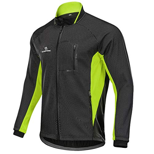 Queshark Chaqueta de Ciclismo Hombre Invierno Ajustados Forro Térmico Cómodo de Lana Cortaviento para Invierno Otoño (3XL, Negro Verde)