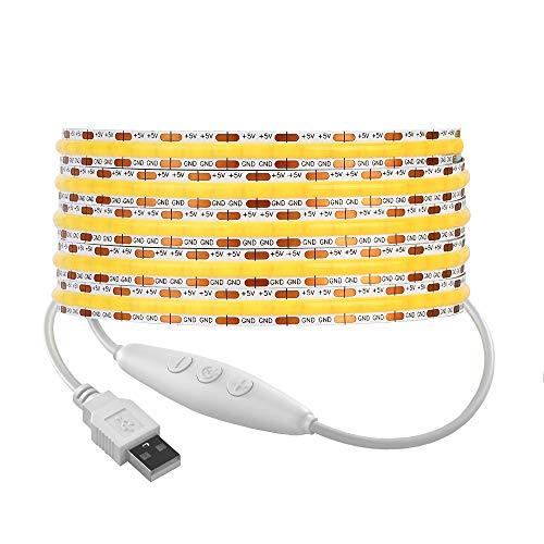 BTF-LIGHTING FCOB Tira de luces LED alimentadas por USB 3.3 pies / 2m 320LEDs/m COB FOB Regulable Blanco natural 90+ Hight CRI 5V 7W/m 14W Alta densidad flexible